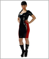 03027 Pencil skirt with contrasting side panels and piping