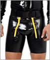 21033 Latex sailor front shorts, knee length, plastic zips