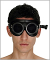 40903 Rubber safety goggles, semi trans black lenses