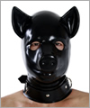 40542 Anatomical latex pig mask with zip and lockable slave collar